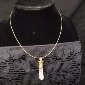 sterling silver chain with crystal pendent